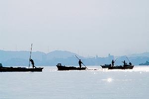 伝統的な食文化継承を担ってきたシジミ漁風景