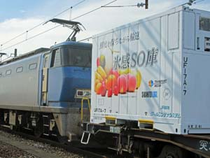 生カキなど積んだ「氷感SO庫」を連結するJR貨物の貨物列車