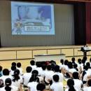 愛南町の出前授業でも、映像には愛南ぎょレンジャーが登場する