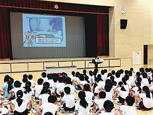 愛南町の出前授業に用いる映像にも、ぎょレンジャーは登場する