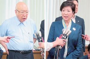会談後取材に応じる小池知事(右)と伊藤会長