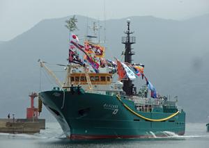 母港の生月港に入港する第八十二大栄丸
