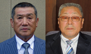 「合併してよかったと」語る篠塚氏(左)と「将来へ道筋開けた」と語る石田氏