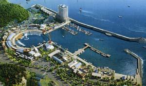 大浦港の完成予想図。水上舞台や歩道橋など観光施設が設置される