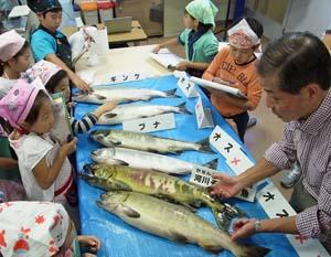 命をつなぐサケの役割やサケ料理も作り方を学ぶ親子たち