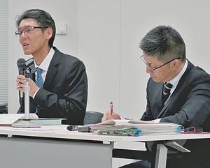 卸売市場法改正の大枠を説明する宮浦課長(左)と武田卸売市場室長