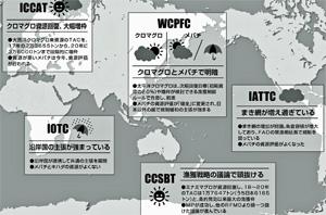 天気に例えて表した各RFMOの資源状態や管理の状況