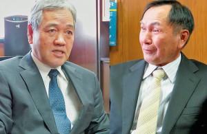 「100万尾供給体制整う」と語る山本組合長(左)、「養殖漁家の平均年齢は30歳」と語る戸髙会長(右)